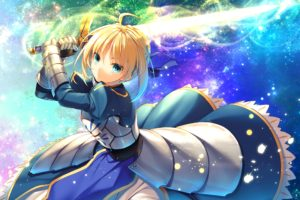 short hair, Blonde, Blue eyes, Anime, Anime girls, Fate Stay Night, Fate Series, Saber, Armor, Gloves, Ribbons, Sword, Weapon