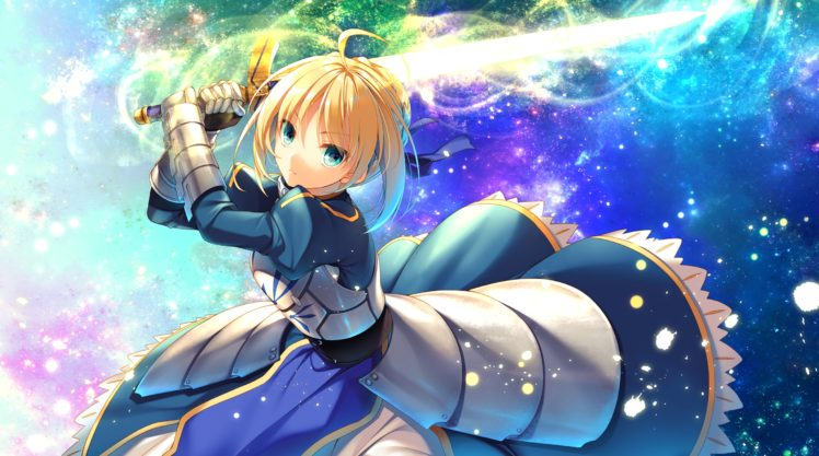 short hair, Blonde, Blue eyes, Anime, Anime girls, Fate Stay Night, Fate Series, Saber, Armor, Gloves, Ribbons, Sword, Weapon HD Wallpaper Desktop Background