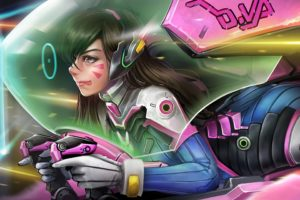 long hair, Brunette, Anime, Anime girls, Overwatch, D.Va (Overwatch), Headphones, Bodysuit, Brown eyes