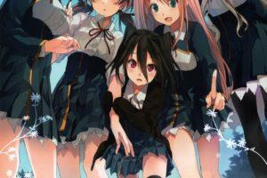 anime girls, Koi to Senkyo to Chocolate, Shinonome Satsuki, Sumiyoshi Chisato, Aomi Isara, Morishita Michiru, Kiba Mifuyu, Thigh highs