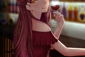 long hair, Redhead, Anime, Anime girls, Love Live!, Love Live! Sunshine, Sakurauchi Riko, Yellow eyes, Wine