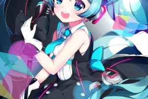 long hair, Blue hair, Blue eyes, Anime, Anime girls, Vocaloid, Hatsune Miku, Headphones, Twintails, Dress