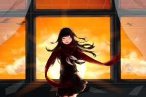 long hair, Tateyama Ayano, Anime, Anime girls, Kagerou Project, Sunset, Black hair, Birds