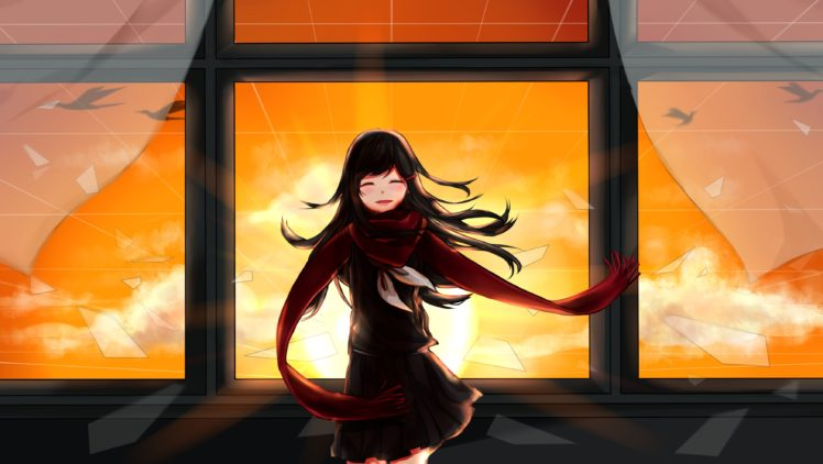 long hair, Tateyama Ayano, Anime, Anime girls, Kagerou Project, Sunset, Black hair, Birds HD Wallpaper Desktop Background