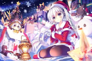 snowman, White hair, Long hair, Anime girls, Santa costume, Snow, Night, Smiling