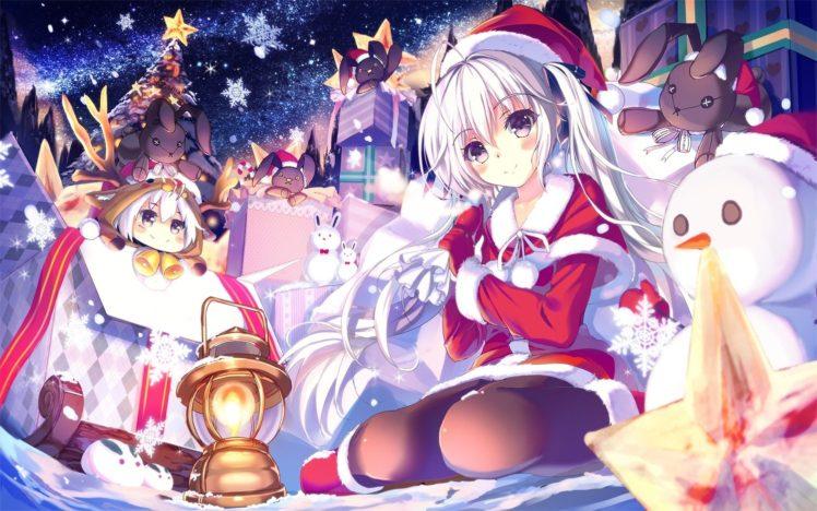 Anime Christmas Wallpaper.Snowman White Hair Long Hair Anime Girls Santa Costume