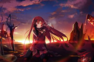 long hair, Redhead, Red eyes, Anime, Anime girls, Crimson Avenger, Elsword, Sword, Weapon, Stockings, Open shirt, Blood