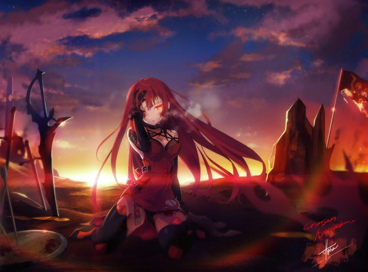long hair, Redhead, Red eyes, Anime, Anime girls, Crimson ...
