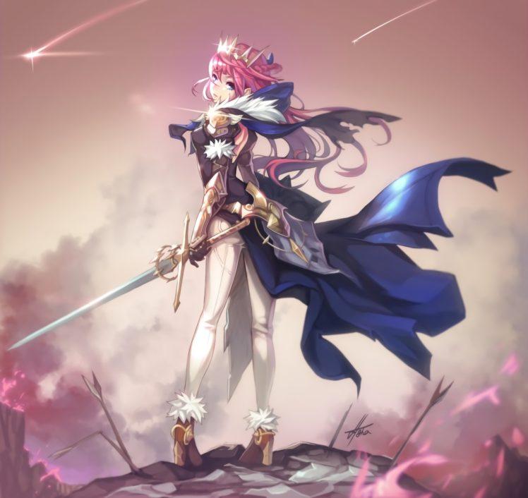 long hair, Pink hair, Anime, Anime girls, Armor, Sword, Weapon HD Wallpaper Desktop Background
