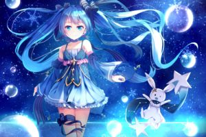 blue eyes, Blue hair, Long hair, Anime, Anime girls, Vocaloid, Hatsune Miku, Yuki Miku, Twintails, Choker, Snow, Dress