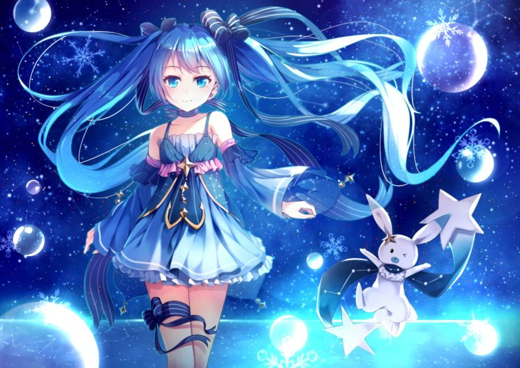 blue eyes, Blue hair, Long hair, Anime, Anime girls, Vocaloid, Hatsune Miku, Yuki Miku, Twintails, Choker, Snow, Dress HD Wallpaper Desktop Background