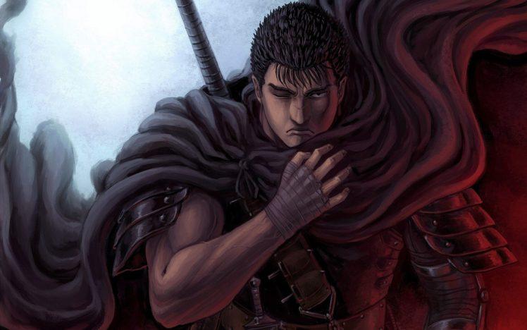 short hair, Warrior, Anime, Anime boys, Berserk, Guts, Black hair, Armor, Fantasy art HD Wallpaper Desktop Background
