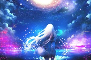 white hair, Long hair, Anime, Anime girls, Sky, Stars, Clouds