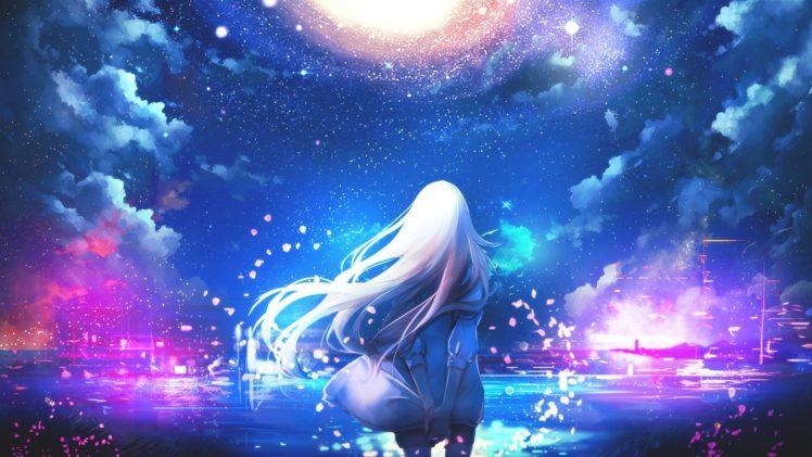 white hair, Long hair, Anime, Anime girls, Sky, Stars, Clouds HD Wallpaper Desktop Background