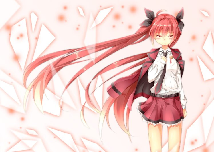 Long Hair Red Eyes Redhead Simple Background Blushing Date A Live