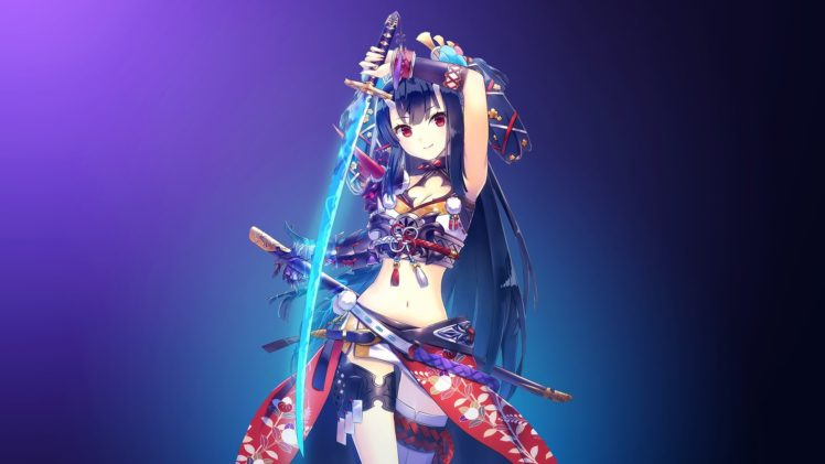 Red Eyes Swordswoman Digital Anime Art Girls Sword HD