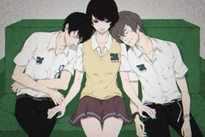 Zankyou no Terror, Mishima Lisa, Kokonoe Arata, Hisami Touji, Anime girls