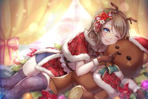blue eyes, Brunette, Short hair, Christmas, Blushing, Hair bows, Gloves, Headband, Horns, Love Live!, Love Live! Sunshine, Teddy bears, Thigh highs, Watanabe You, Wink, Window