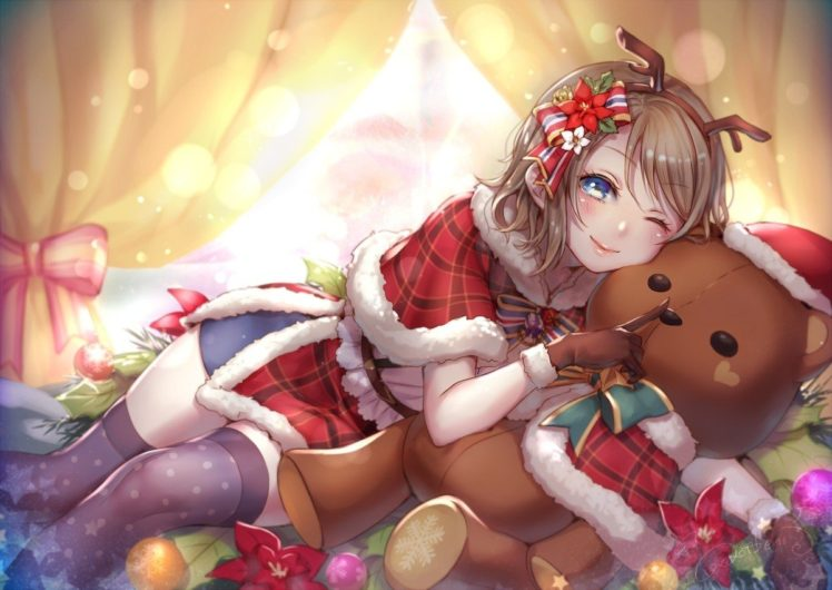 blue eyes, Brunette, Short hair, Christmas, Blushing, Hair bows, Gloves, Headband, Horns, Love Live!, Love Live! Sunshine, Teddy bears, Thigh highs, Watanabe You, Wink, Window HD Wallpaper Desktop Background