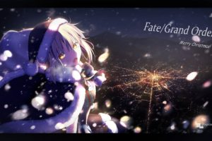 blonde, Christmas, Santa hats, Fate Grand Order, Fate Series, Cityscape, Snow, Night, Winter