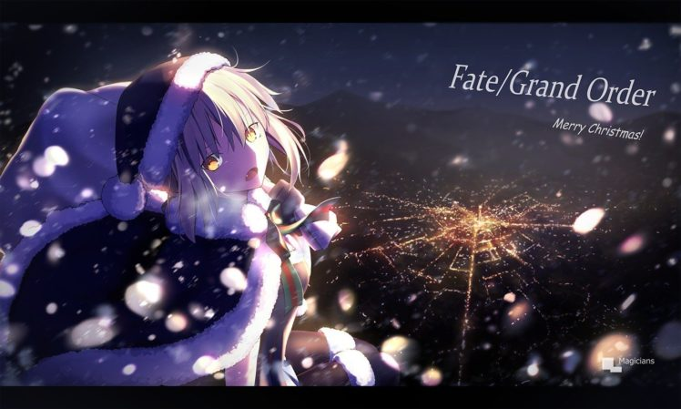 blonde, Christmas, Santa hats, Fate Grand Order, Fate Series, Cityscape, Snow, Night, Winter HD Wallpaper Desktop Background