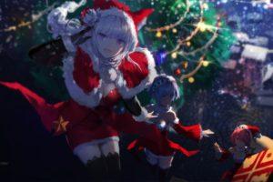 cleavage, White hair, Blue hair, Christmas, Emilia (Re: Zero), Rem (Re: Zero), Re: Zero Kara Hajimeru Isekai Seikatsu, Thigh highs, Headdress, Santa hats, Ram (Re:Zero)