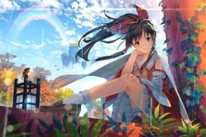 ponytail, Touhou, Hakurei Reimu, Animals, Birds, Japanese clothes, Ribbon, Socks, Rain, Rainbows