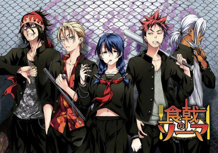 Shokugeki no Souma, Yukihira Soma, Tadokoro Megumi, Hayama Akira, Aldini Takumi, Kurokiba Ryo, Anime HD Wallpaper Desktop Background