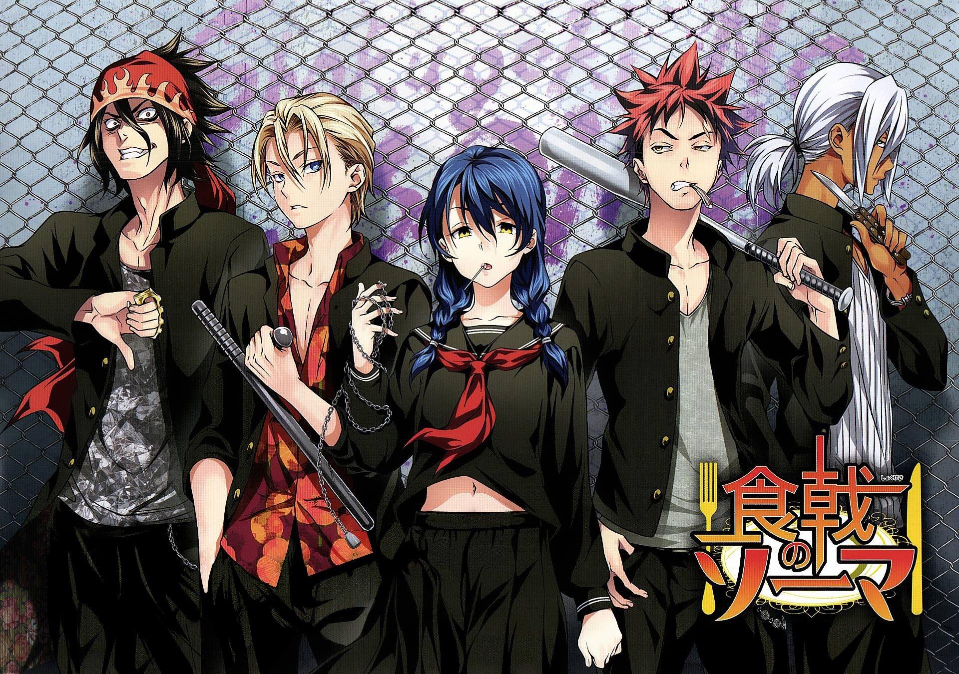 Shokugeki no Souma, Yukihira Soma, Tadokoro Megumi, Hayama Akira, Aldini Takumi, Kurokiba Ryo, Anime Wallpaper