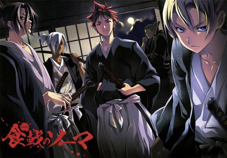 Shokugeki no Souma, Yukihira Soma, Hayama Akira, Aldini Takumi, Kurokiba Ryo, Anime HD Wallpaper Desktop Background