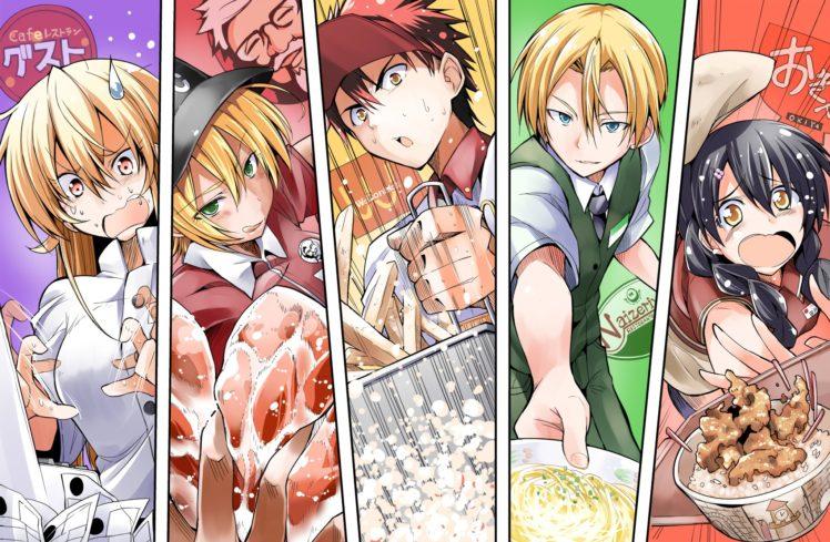 Shokugeki no Souma, Tadokoro Megumi, Yukihira Soma, Nakiri Erina, Aldini Takumi HD Wallpaper Desktop Background
