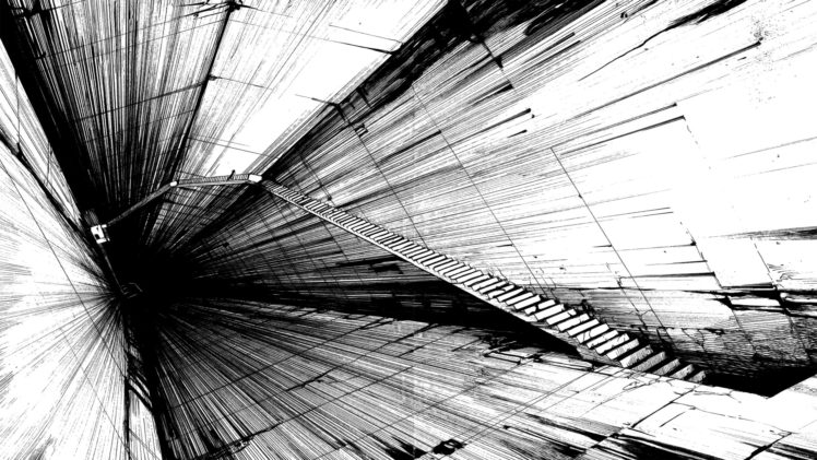 stairs, Blame!, Heights, Abstract, Monochrome, Artwork HD Wallpaper Desktop Background