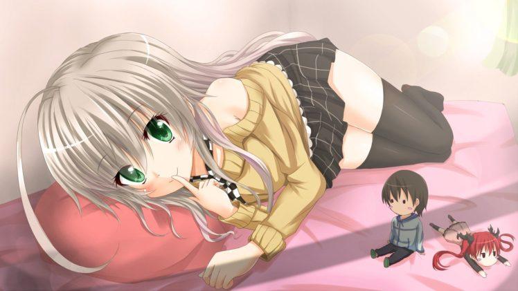 Haiyore! Nyaruko san, Anime girls, Nyaruko, Cthuko, Yasaka Mahiro, Anime, Thigh highs HD Wallpaper Desktop Background