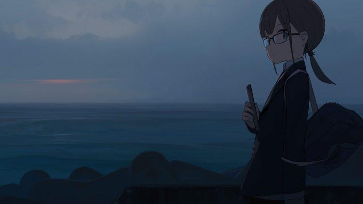 night, Sea, Sky, Glasses HD Wallpaper Desktop Background