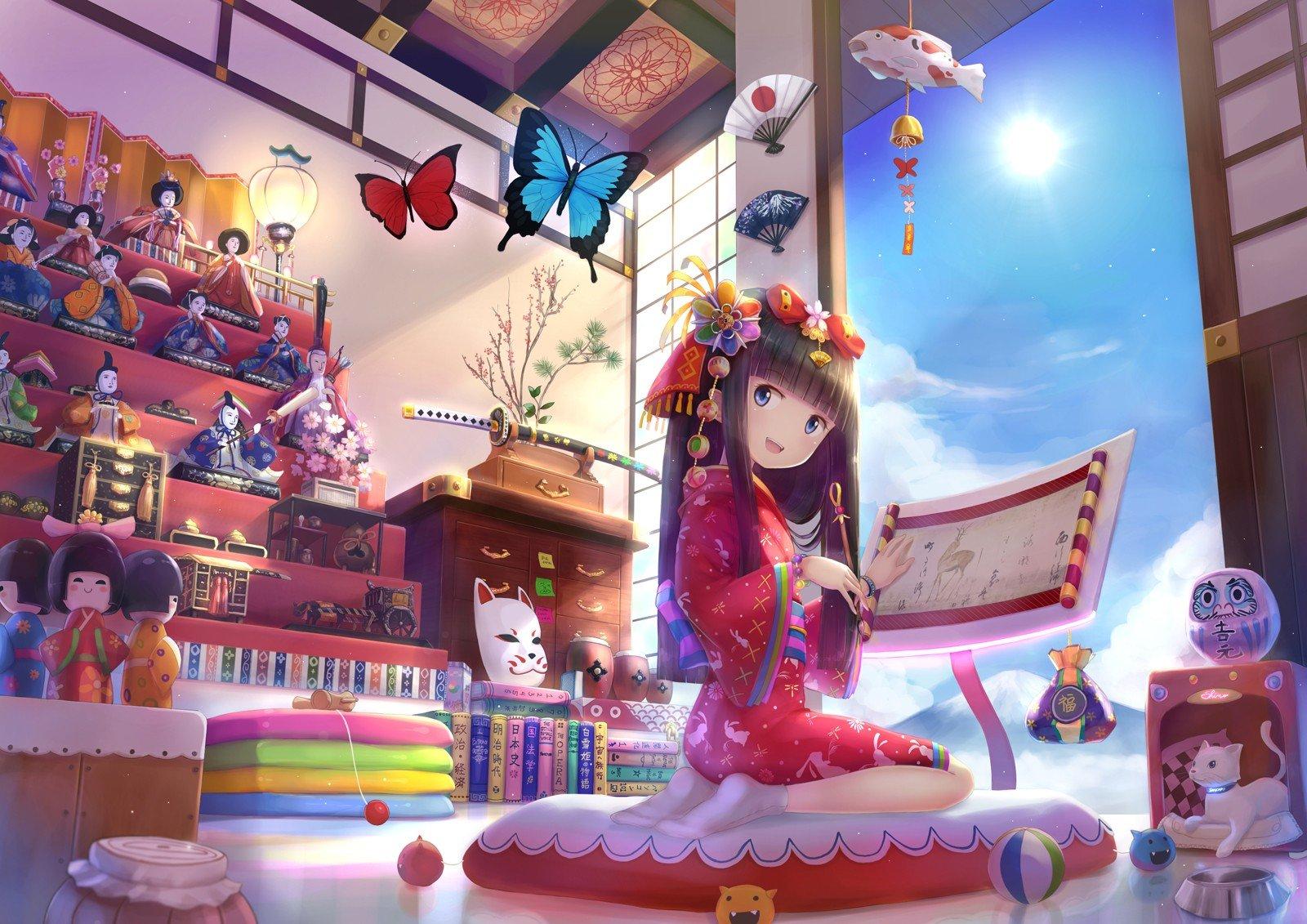 long hair, Blue eyes, Anime, Anime girls, Black hair, Hair ornament, Smiling Wallpaper