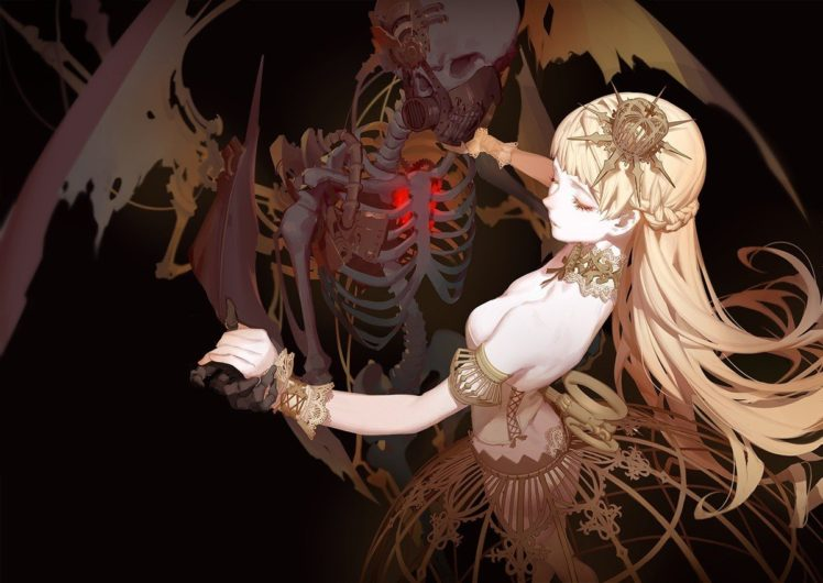 corpse, Dead, Blonde, Skeleton, Wings, Dancing, Dress HD Wallpaper Desktop Background
