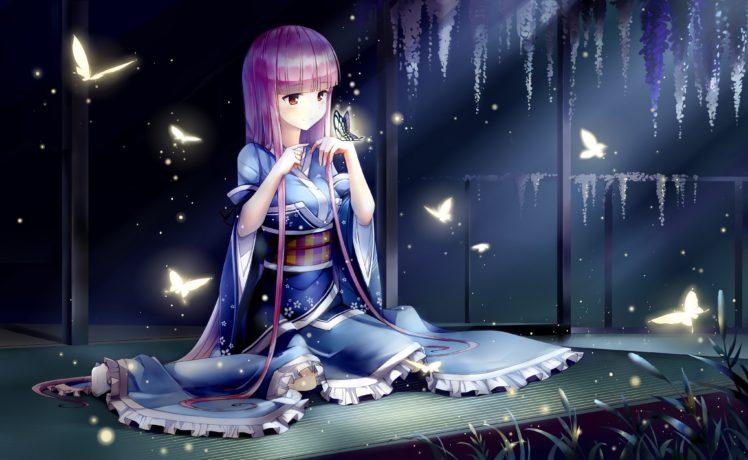Japanese clothes, Saigyouji Yuyuko, Touhou, Butterfly HD Wallpaper Desktop Background