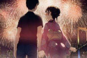 short hair, Happy new year, New Year, Fireworks, Blushing, Building, City, Cityscape, Yukata, Anime, Anime girls