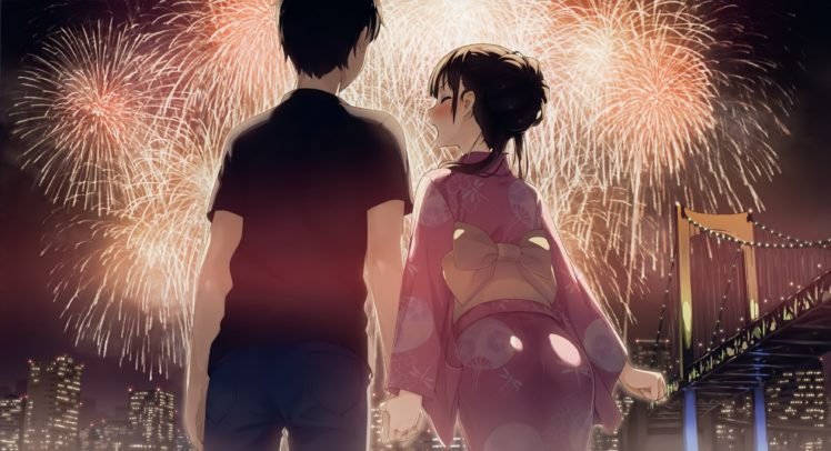 short hair, Happy new year, New Year, Fireworks, Blushing, Building, City, Cityscape, Yukata, Anime, Anime girls HD Wallpaper Desktop Background