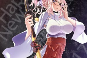 hard nipples, Pink hair, Happy new year, New Year, Japanese clothes, Glasses, Sword, Anime, Anime girls, Fangs