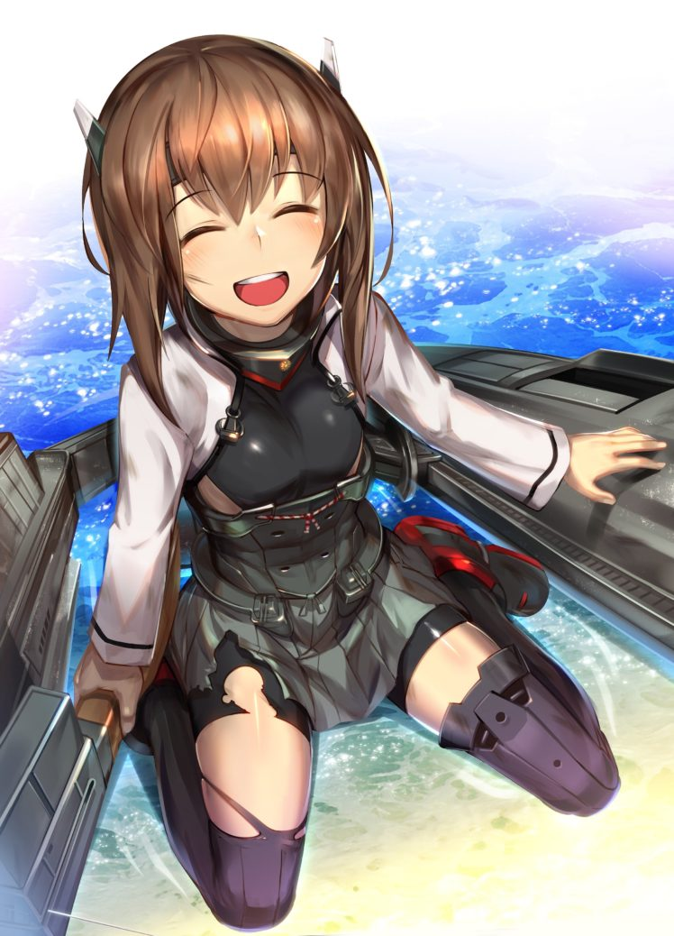 brunette, Open mouth, Kantai Collection, Taihou (KanColle), Thigh highs, Torn clothes, Sea, Smiling, Anime, Anime girls HD Wallpaper Desktop Background