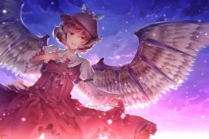 pink hair, Short hair, Clouds, Red dress, Mystia Lorelei, Touhou, Wings