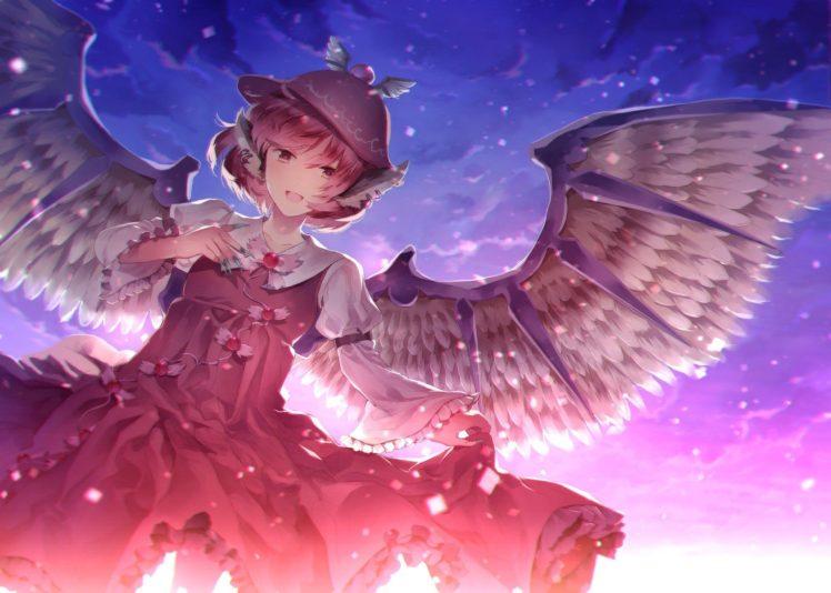 pink hair, Short hair, Clouds, Red dress, Mystia Lorelei, Touhou, Wings HD Wallpaper Desktop Background