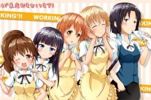 Working!!, Anime girls, Inami Mahiru, Taneshima Popura, Yamada Aoi, Todoroki Yachiyo, Shirafuji Kyouko