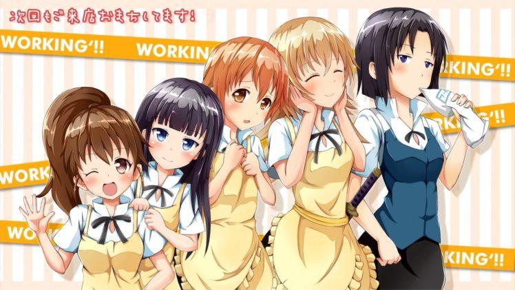 Working!!, Anime girls, Inami Mahiru, Taneshima Popura, Yamada Aoi, Todoroki Yachiyo, Shirafuji Kyouko HD Wallpaper Desktop Background