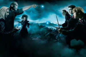 Harry Potter, Lord Voldemort, Lucius Malfoy, Hermiona Granger, Ron Weasley
