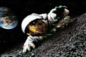 astronaut, Earth, Moon