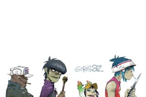 Gorillaz, Music, 2 D, Noodle, Murdoc Niccals, Russel Hobbs, Simple background, Jamie Hewlett