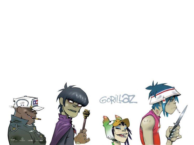 Gorillaz, Music, 2 D, Noodle, Murdoc Niccals, Russel Hobbs, Simple background, Jamie Hewlett HD Wallpaper Desktop Background