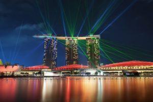 cityscape, Marina Bay, Lasers, Spotlights, Building
